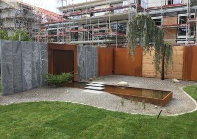 Sichtschutz Stahl Granit Holz Maibach Gartenbau GmbH Safnern Aegerten Seeland